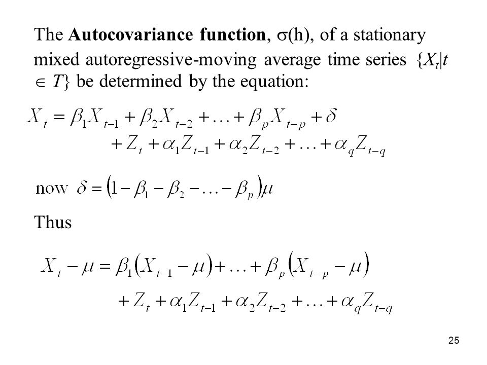 The Autocovariance function, s(h), of a stationary mixed autoregressive-moving average time series {Xt|t  T} be determined by the equation: