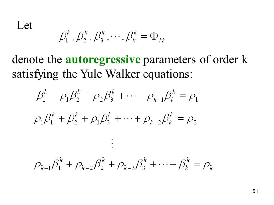 Let denote the autoregressive parameters of order k satisfying the Yule Walker equations: