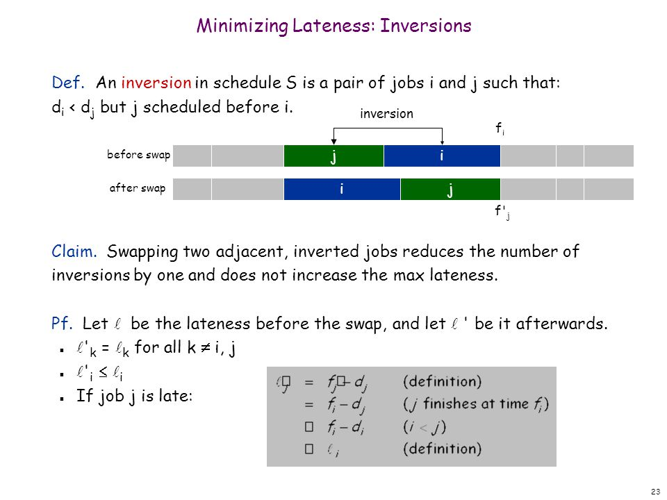 Minimizing Lateness: Inversions