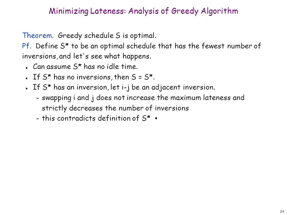 Minimizing Lateness: Analysis of Greedy Algorithm
