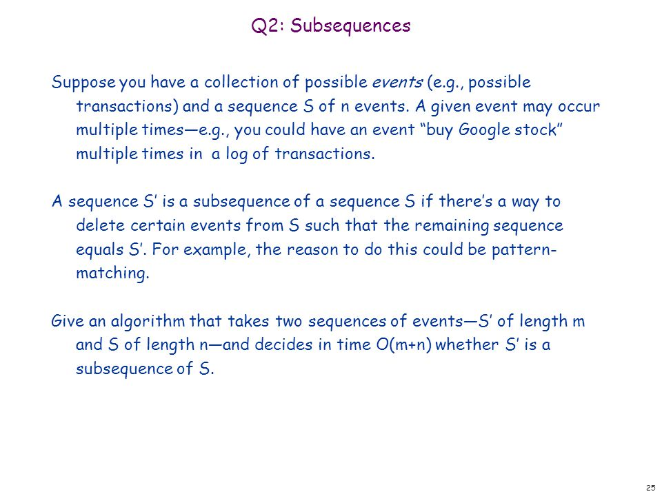Q2: Subsequences