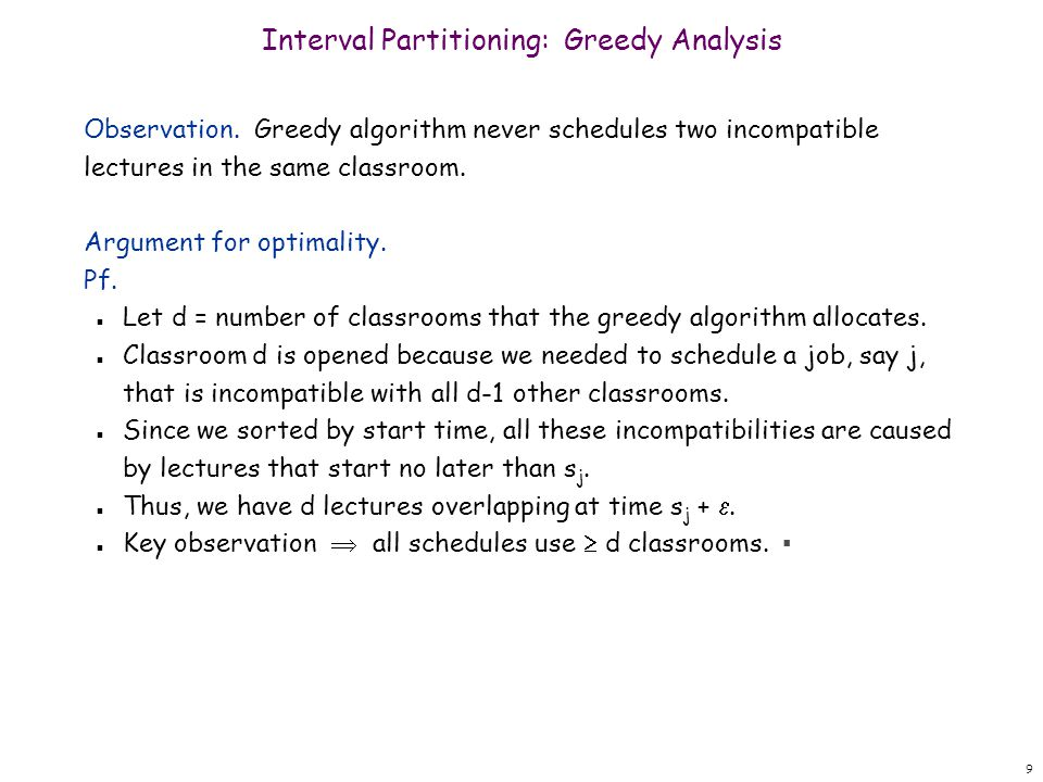 Interval Partitioning: Greedy Analysis