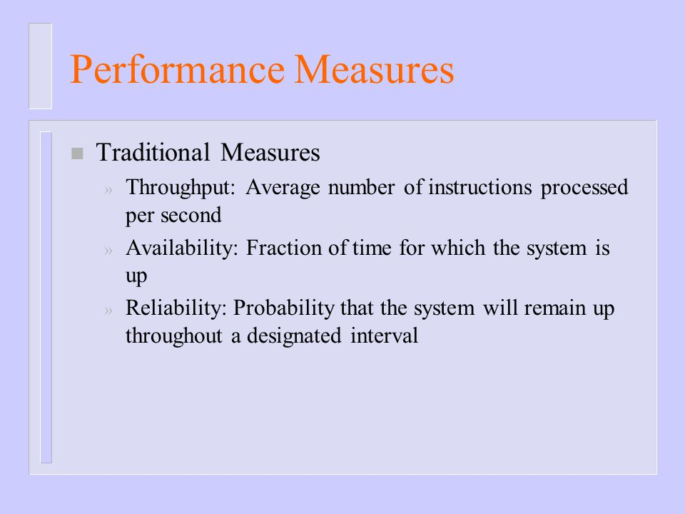 Performance Measures Traditional Measures