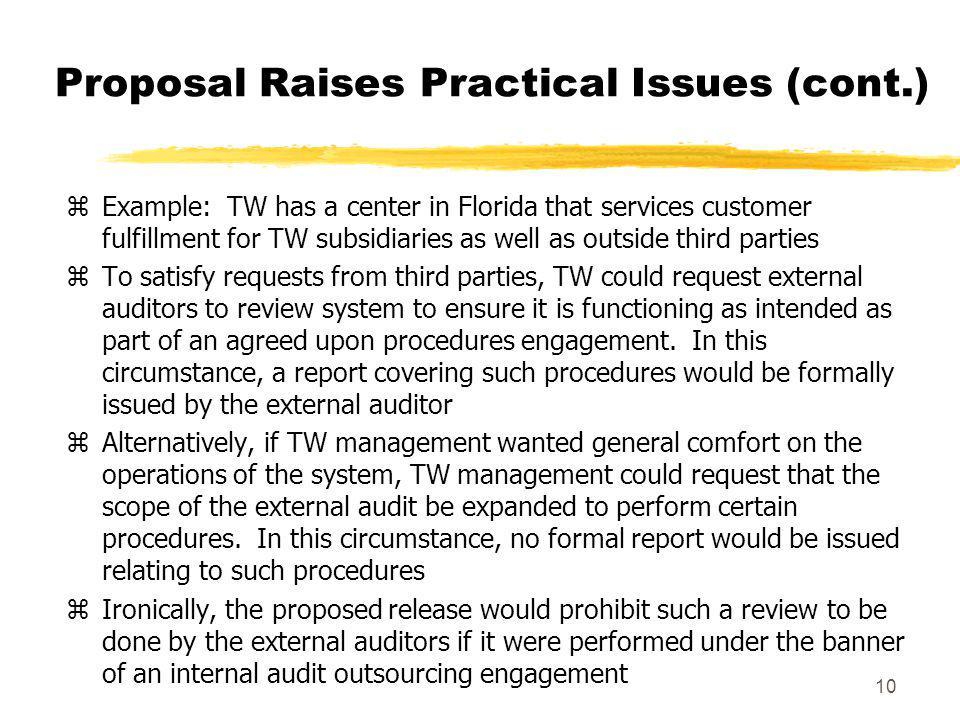 Proposal Raises Practical Issues (cont.)