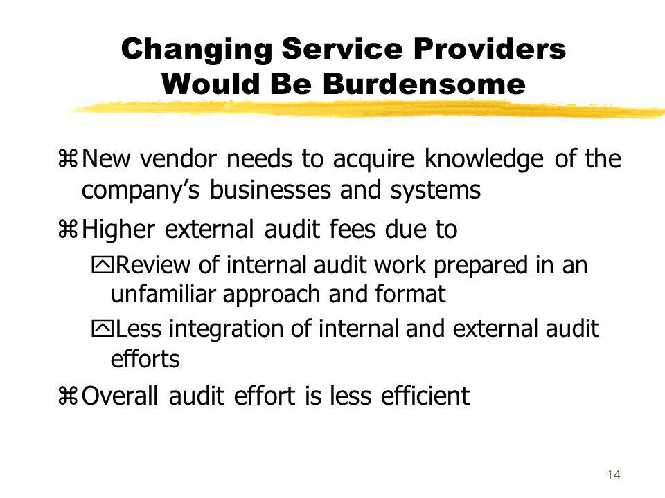 Changing Service Providers Would Be Burdensome
