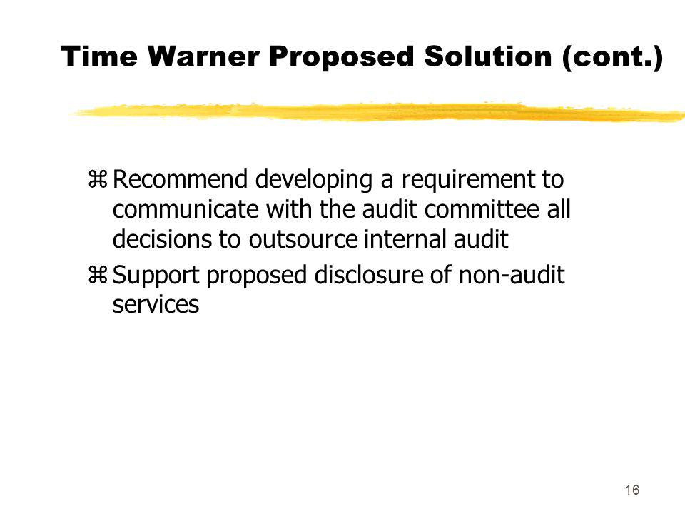 Time Warner Proposed Solution (cont.)