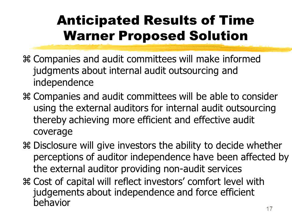 Anticipated Results of Time Warner Proposed Solution