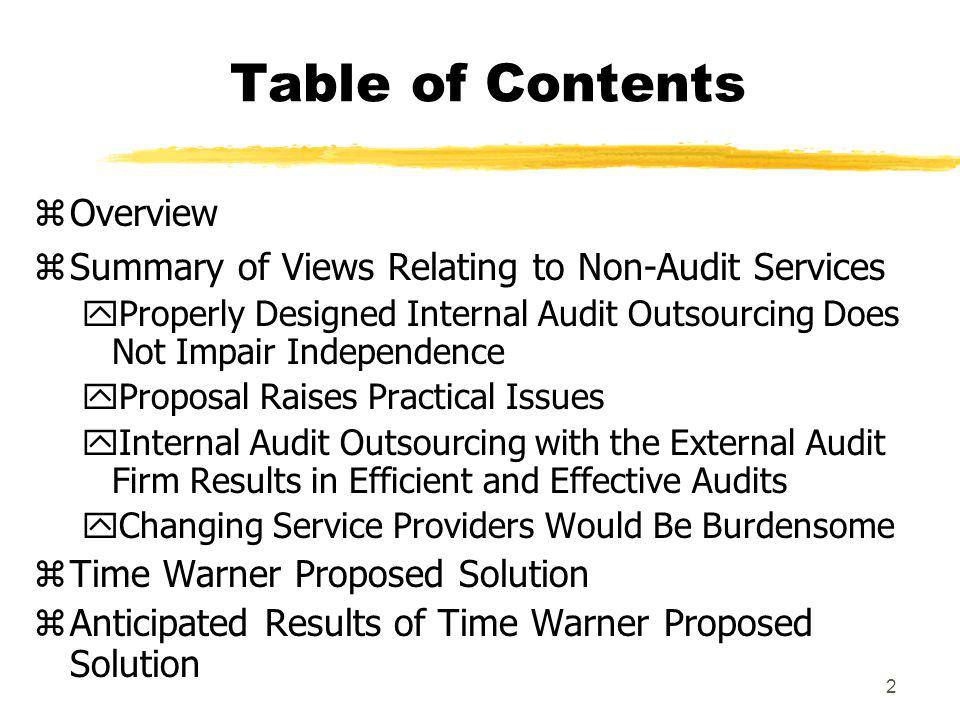 Table of Contents Overview