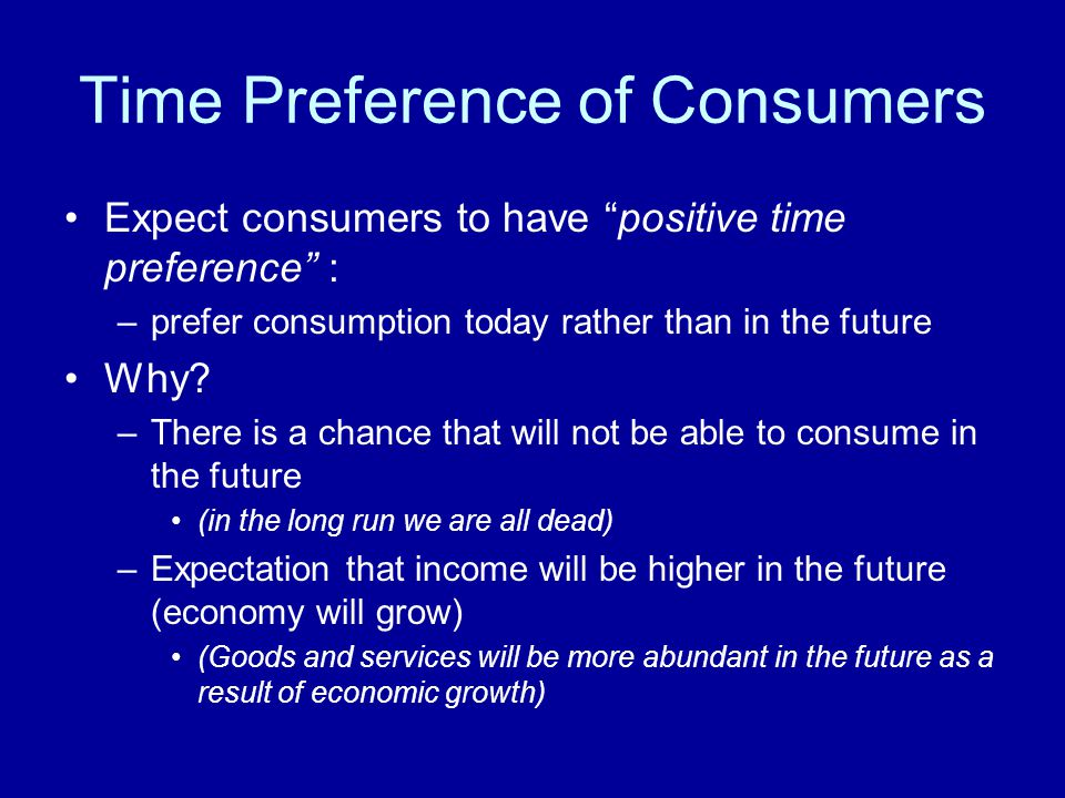 Time Preference of Consumers