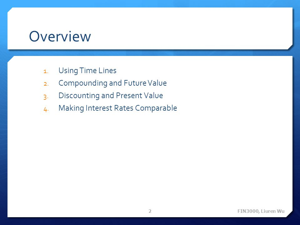 Overview Using Time Lines Compounding and Future Value