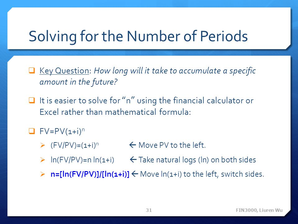 Solving for the Number of Periods