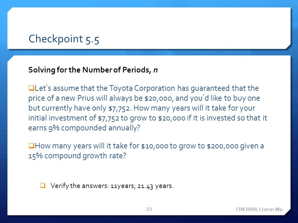 Checkpoint 5.5 Solving for the Number of Periods, n