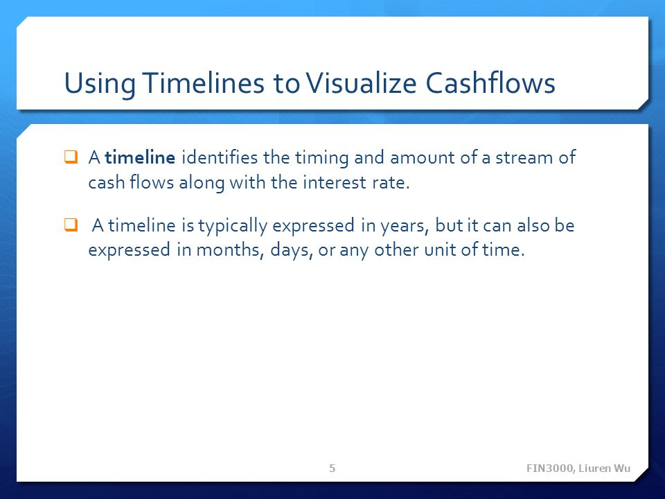 Using Timelines to Visualize Cashflows