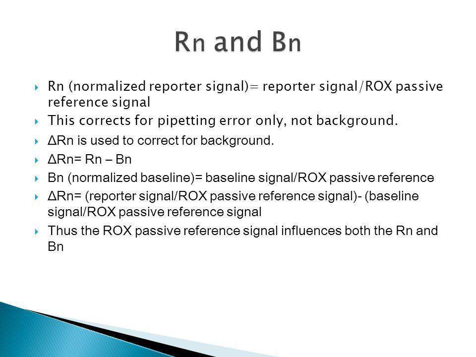 Rn and Bn Rn (normalized reporter signal)= reporter signal/ROX passive reference signal. This corrects for pipetting error only, not background.