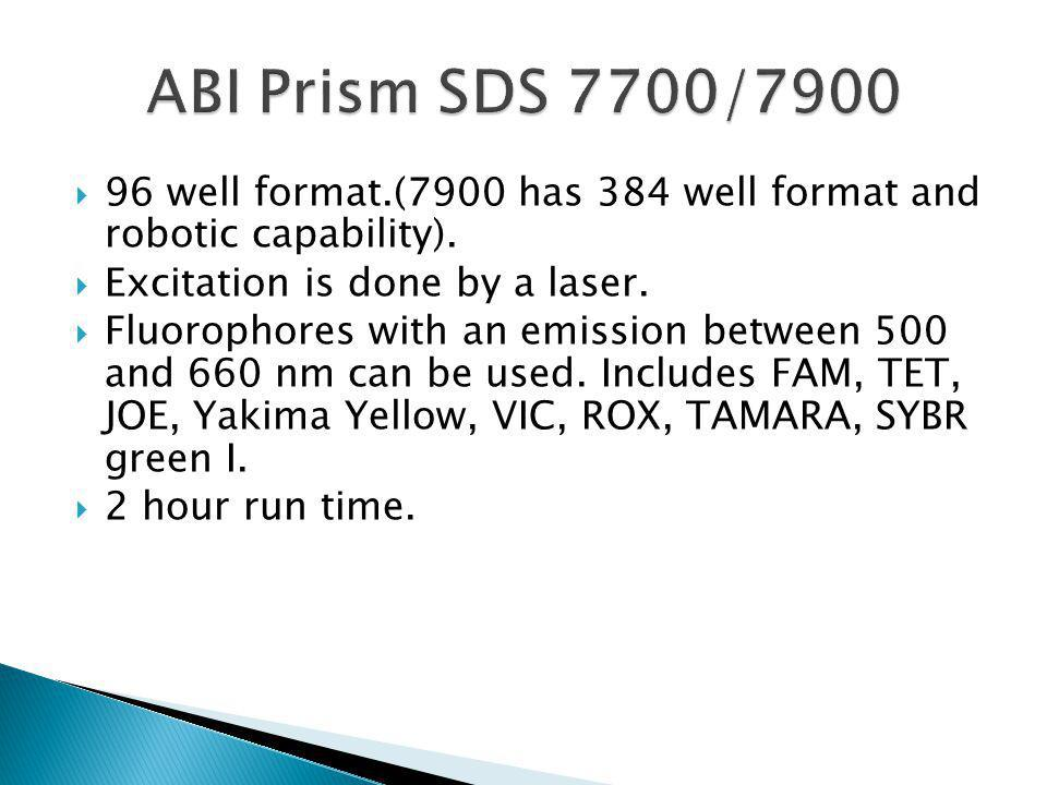 ABI Prism SDS 7700/7900 96 well format.(7900 has 384 well format and robotic capability). Excitation is done by a laser.