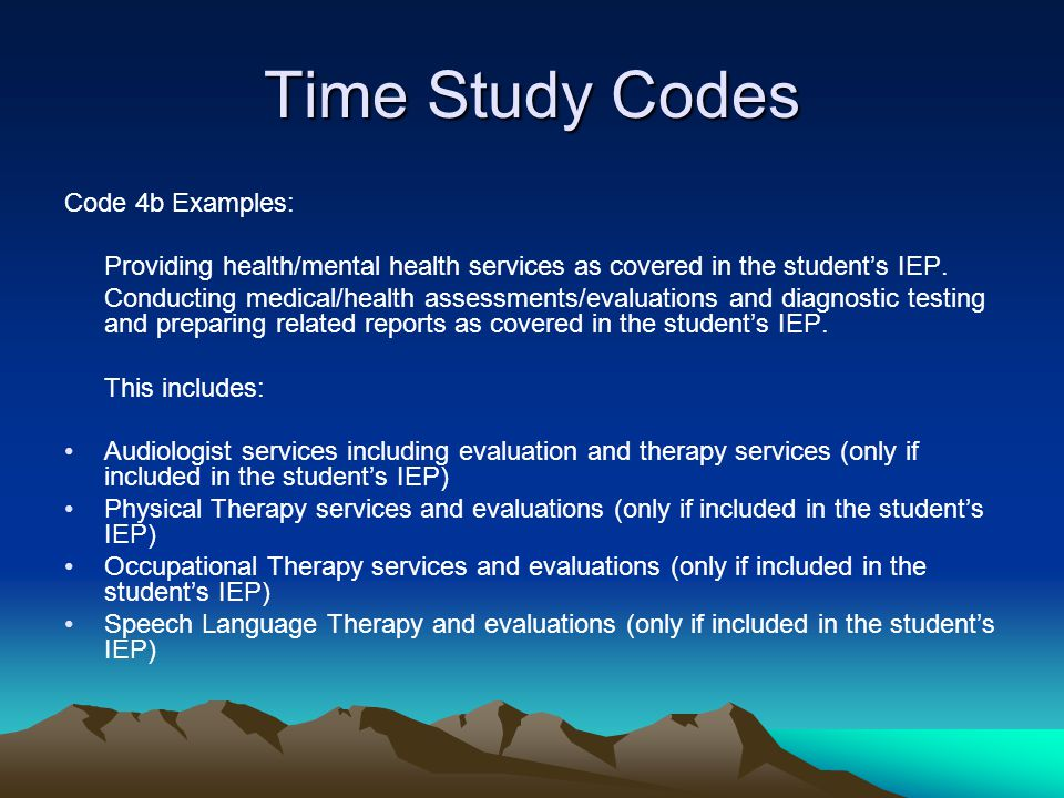 Time Study Codes Code 4b Examples: