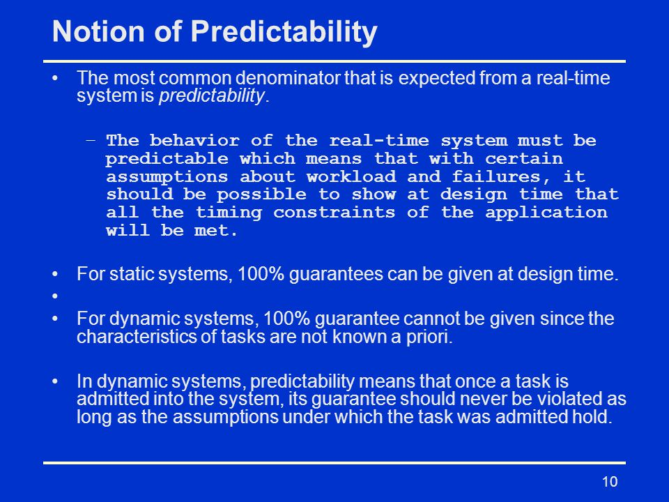 Notion of Predictability