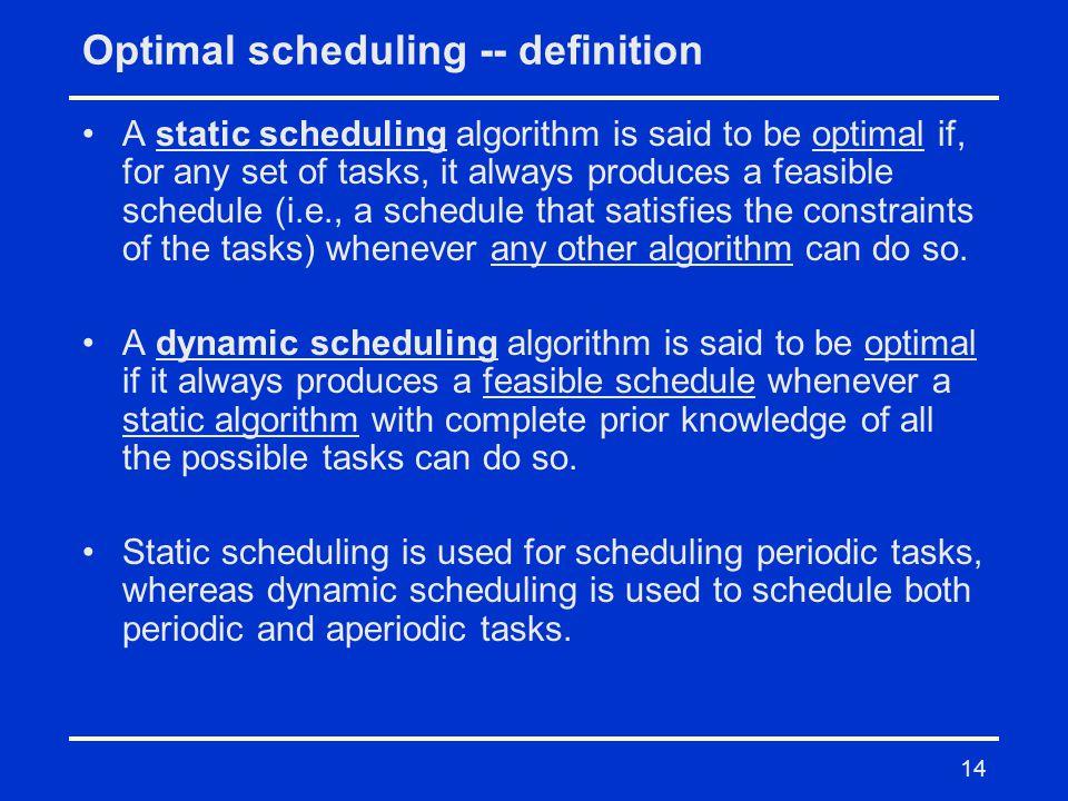Optimal scheduling -- definition
