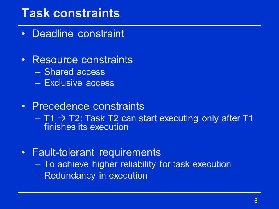 Task constraints Deadline constraint Resource constraints
