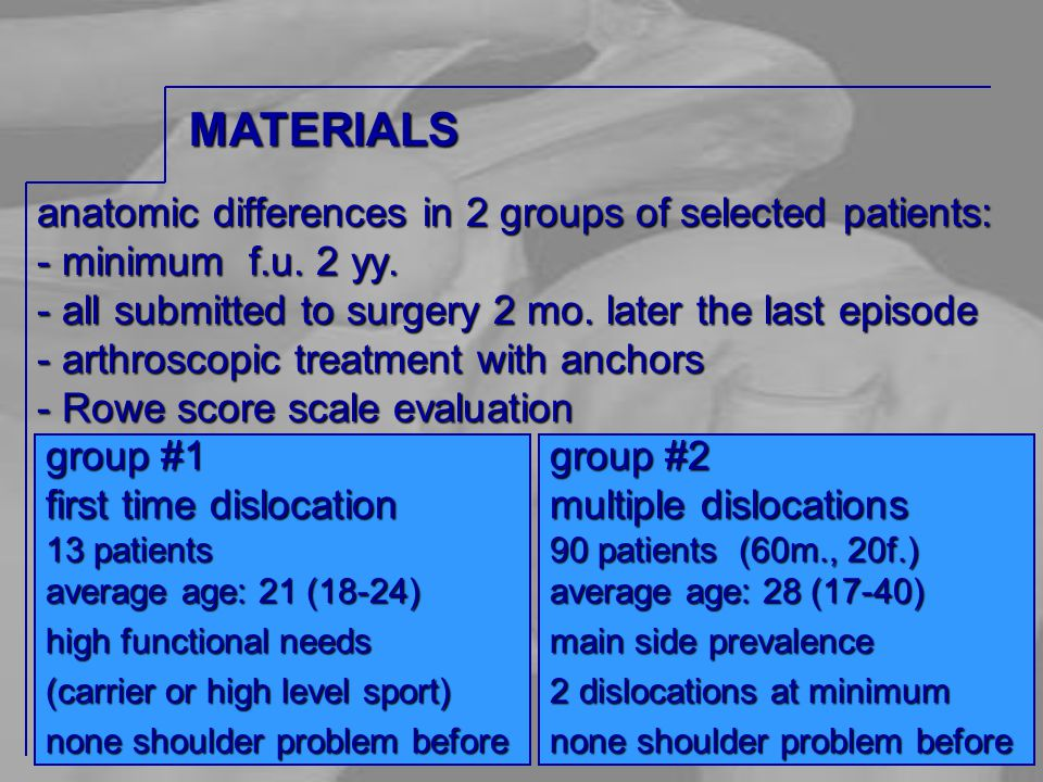 anatomic differences in 2 groups of selected patients: