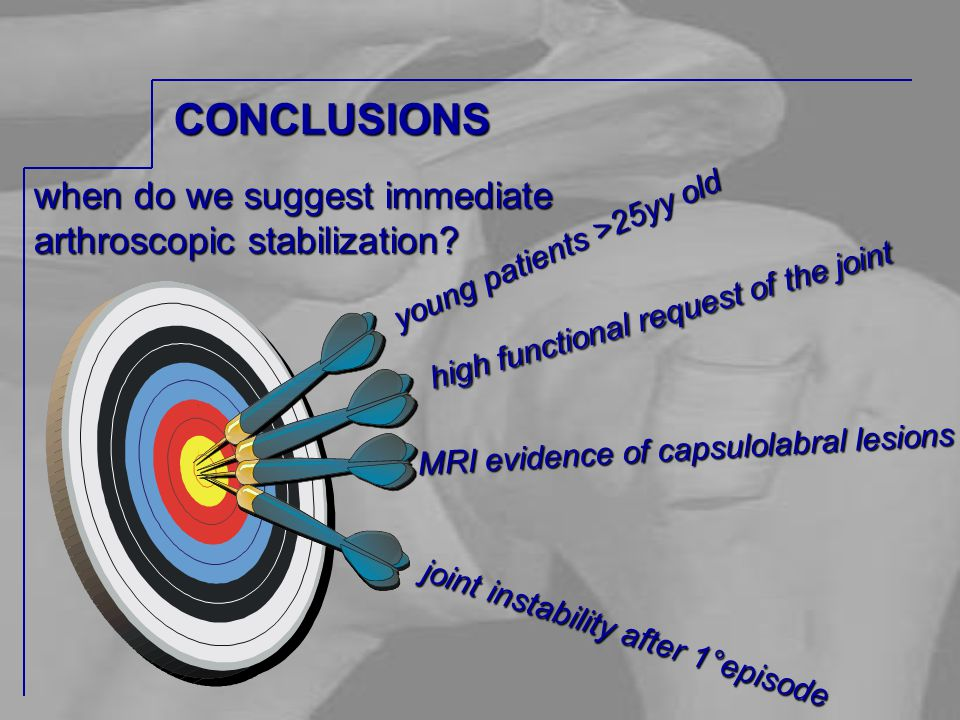 when do we suggest immediate arthroscopic stabilization