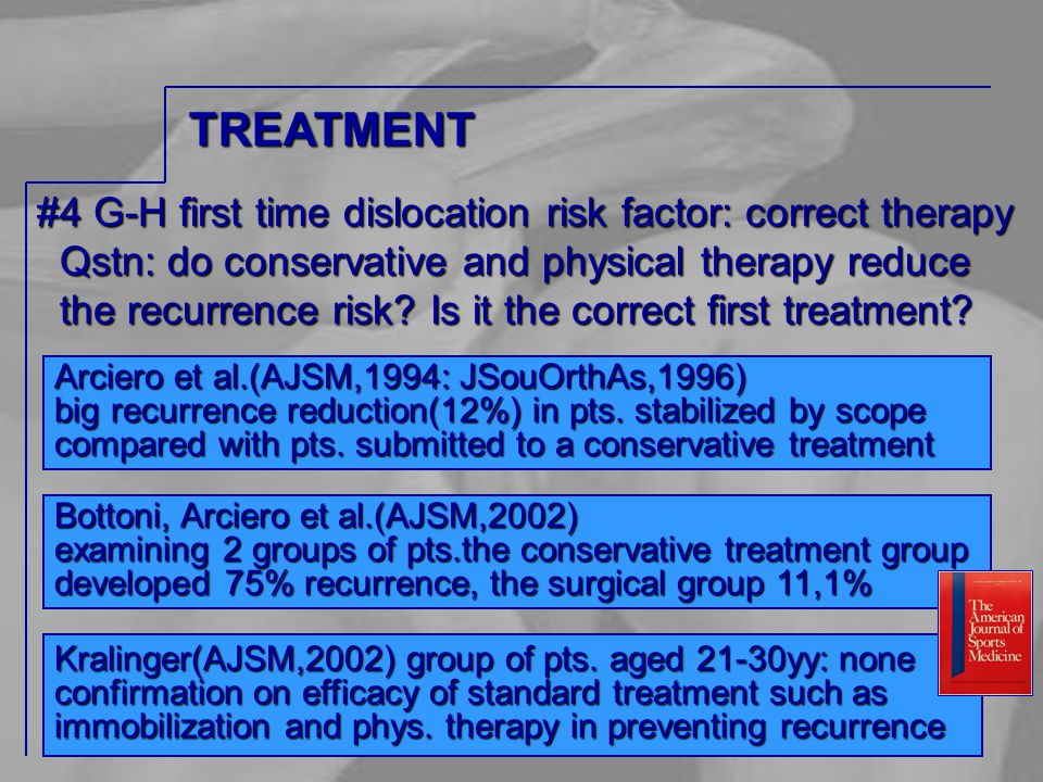 #4 G-H first time dislocation risk factor: correct therapy