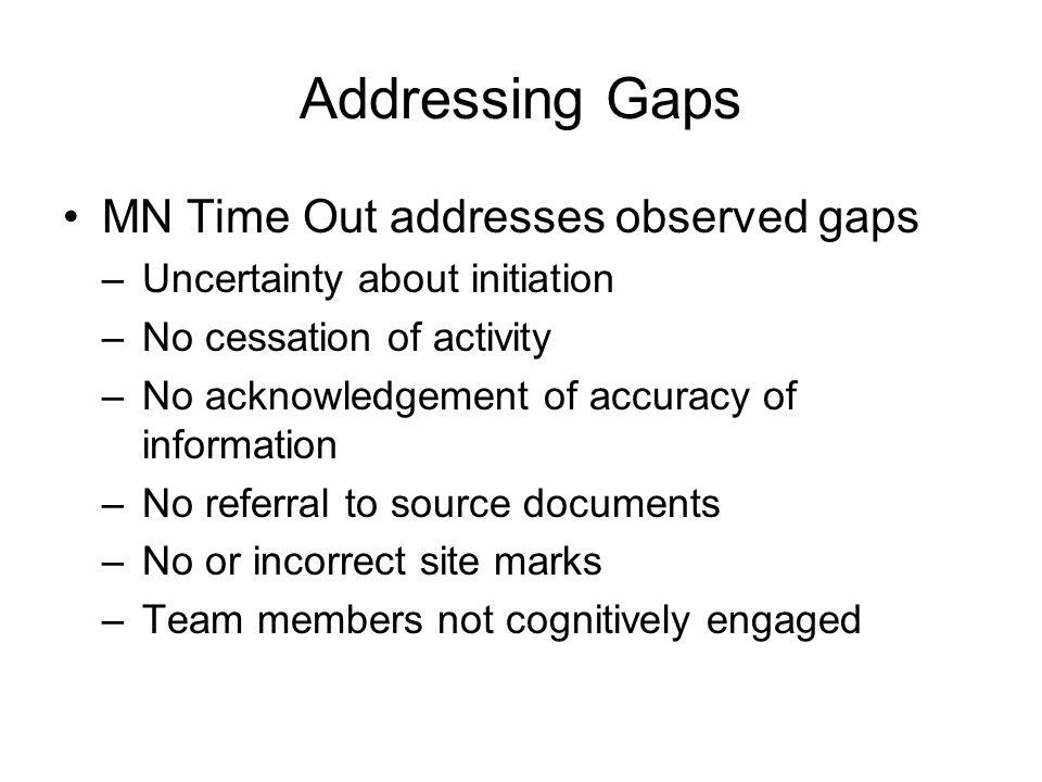 Addressing Gaps MN Time Out addresses observed gaps