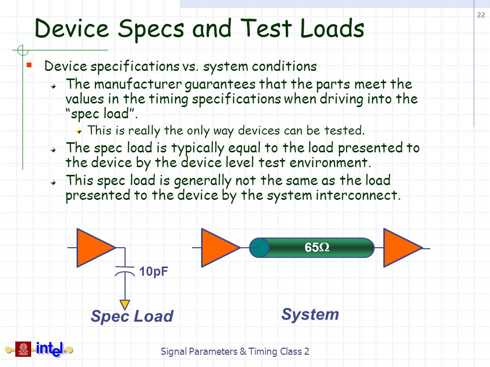 Device Specs and Test Loads