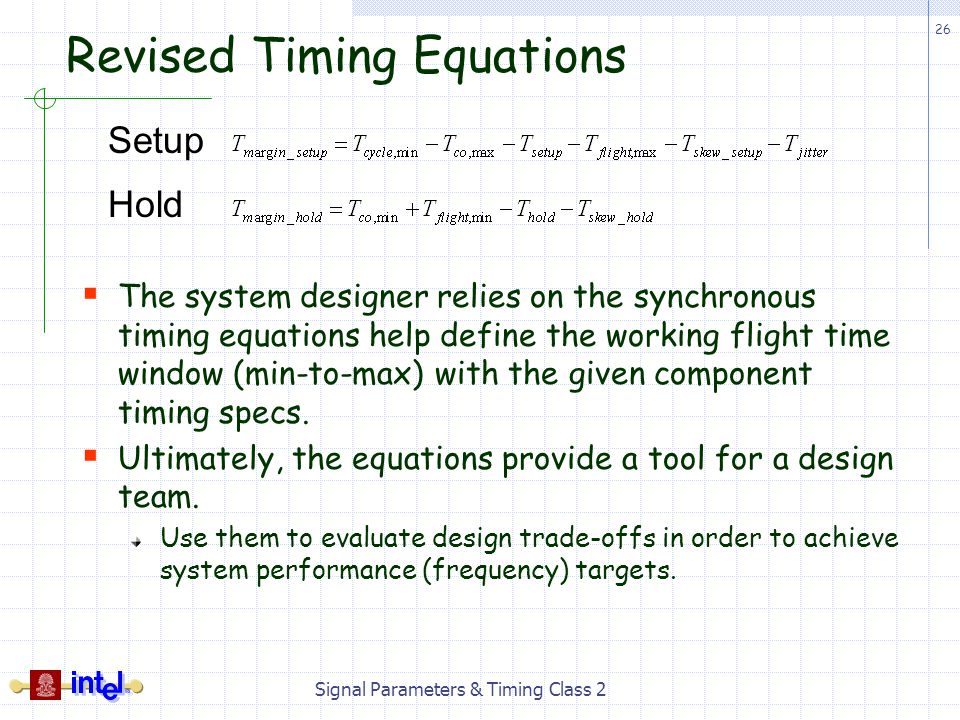 Revised Timing Equations