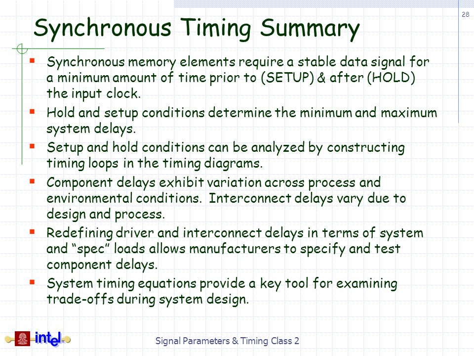 Synchronous Timing Summary