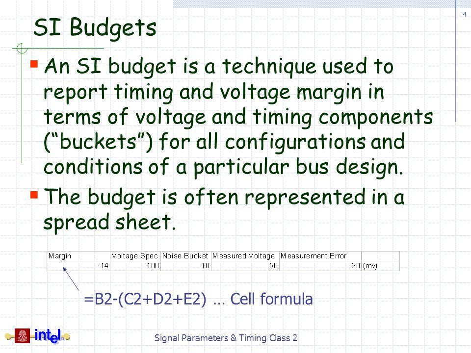 Signal Parameters & Timing Class 2