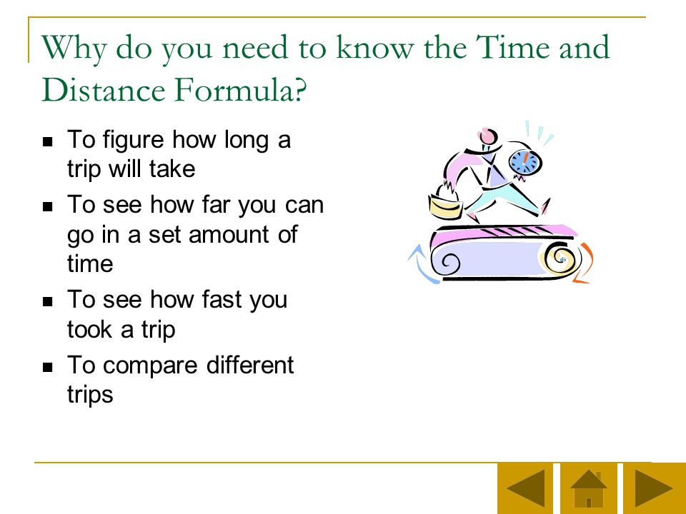 Why do you need to know the Time and Distance Formula