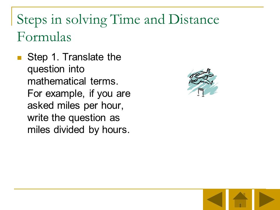 Steps in solving Time and Distance Formulas