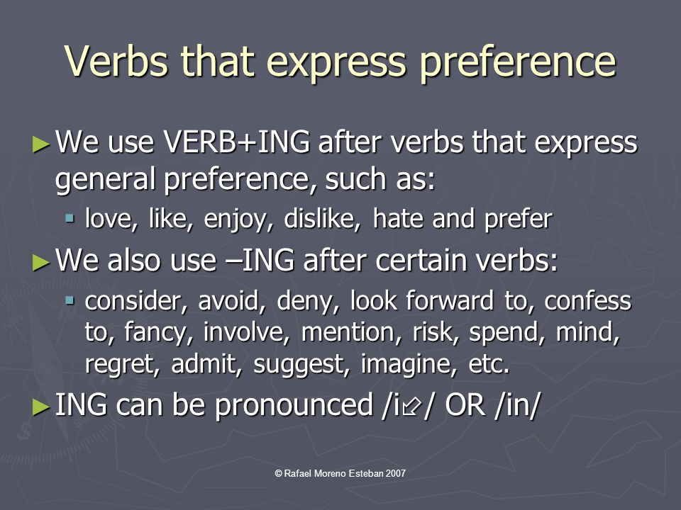 Verbs that express preference