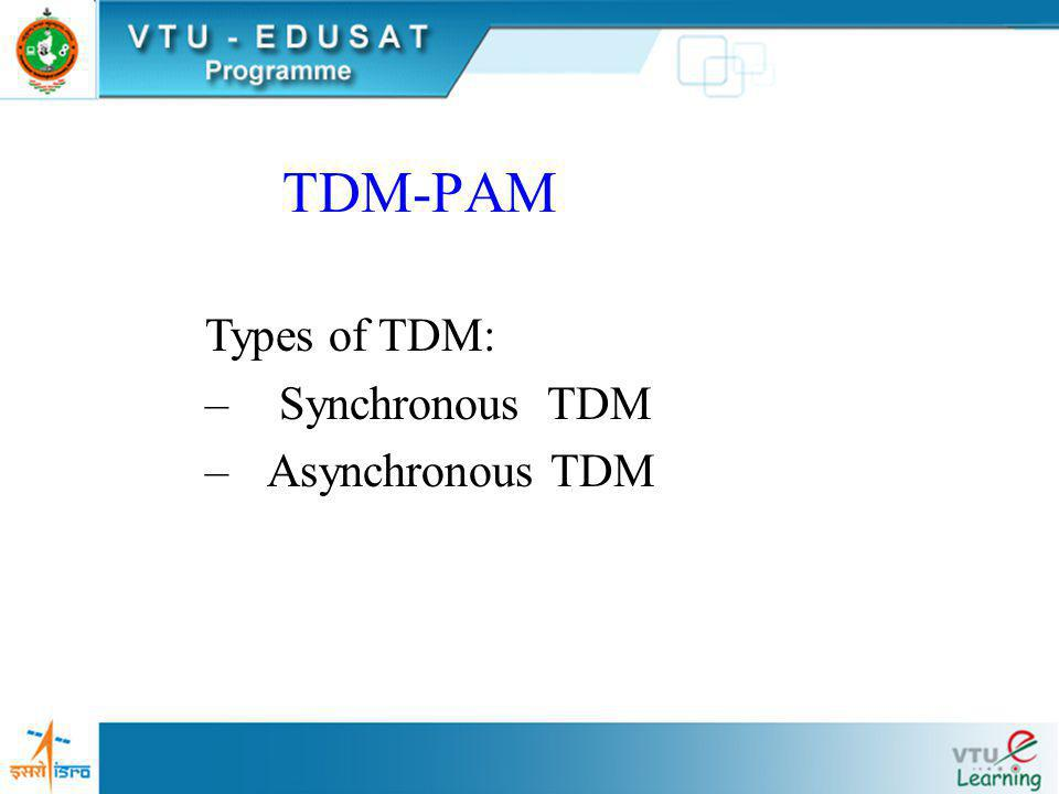 TDM-PAM Types of TDM: Synchronous TDM Asynchronous TDM