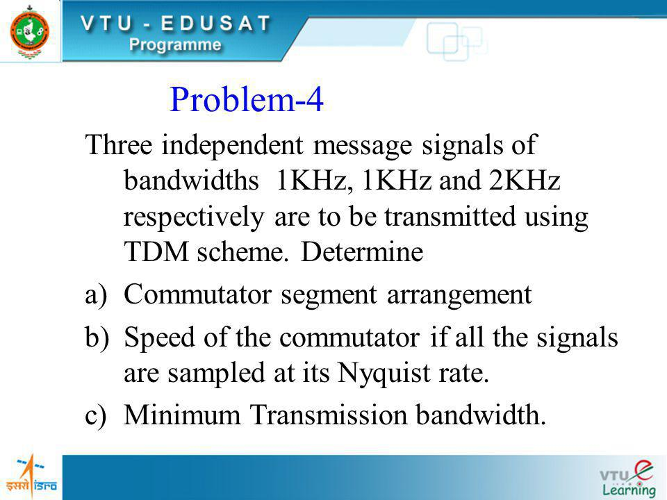 Problem-4 Three independent message signals of bandwidths 1KHz, 1KHz and 2KHz respectively are to be transmitted using TDM scheme. Determine.