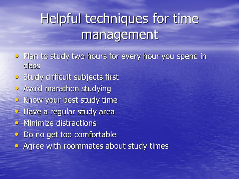 Helpful techniques for time management