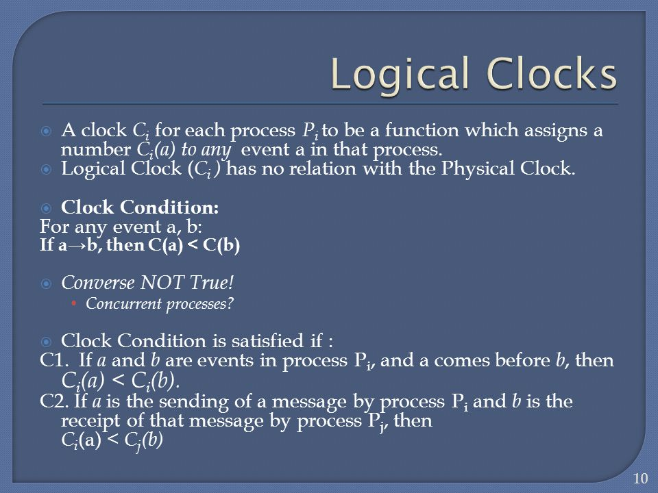 Logical Clocks A clock Ci for each process Pi to be a function which assigns a number Ci(a) to any event a in that process.