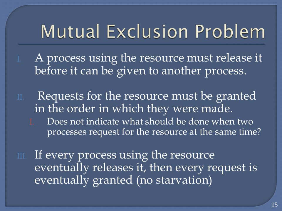 Mutual Exclusion Problem