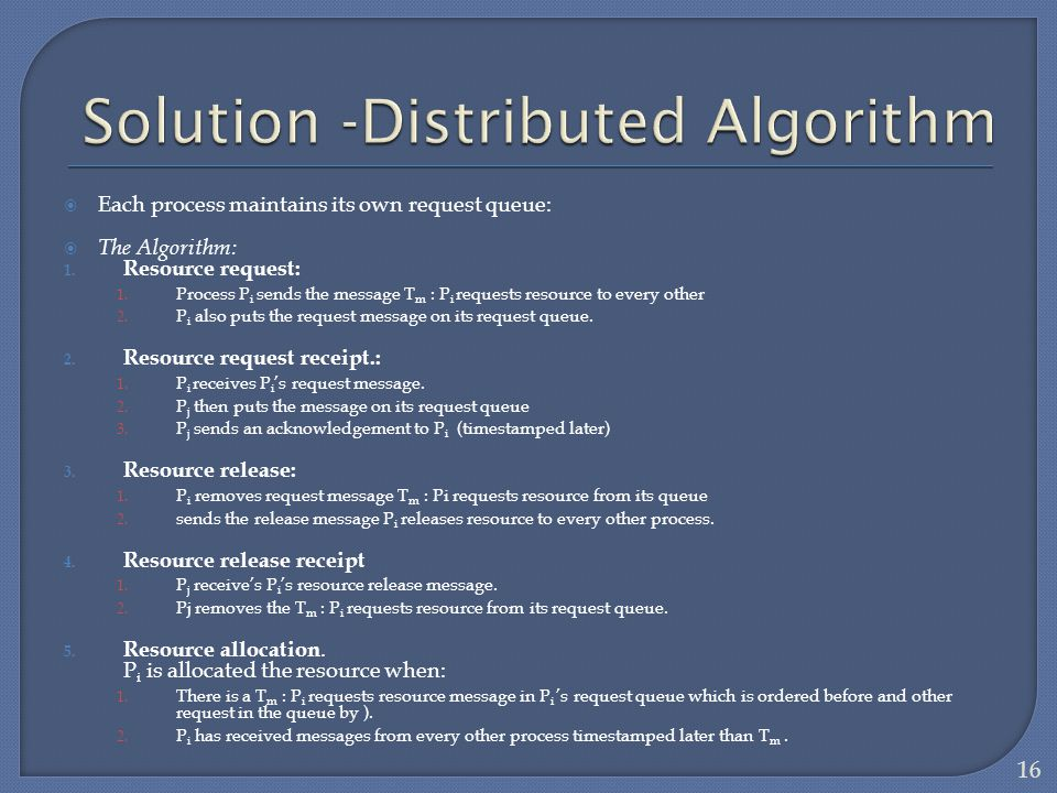 Solution -Distributed Algorithm