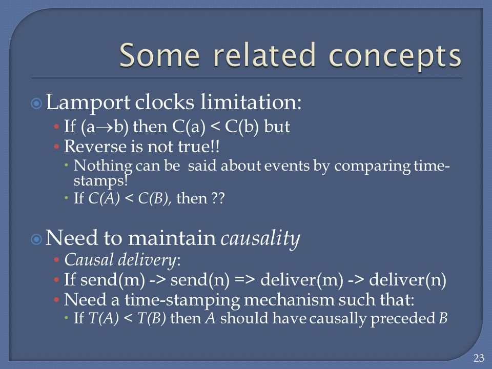 Some related concepts Lamport clocks limitation: