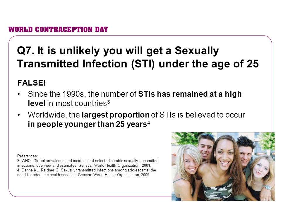 Q7. It is unlikely you will get a Sexually Transmitted Infection (STI) under the age of 25