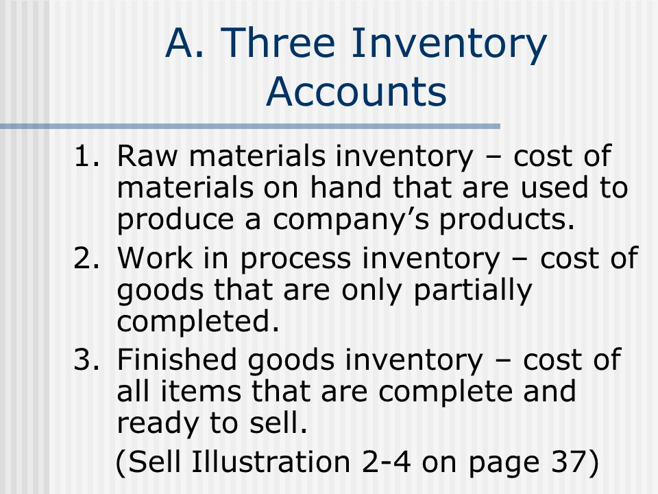 A. Three Inventory Accounts