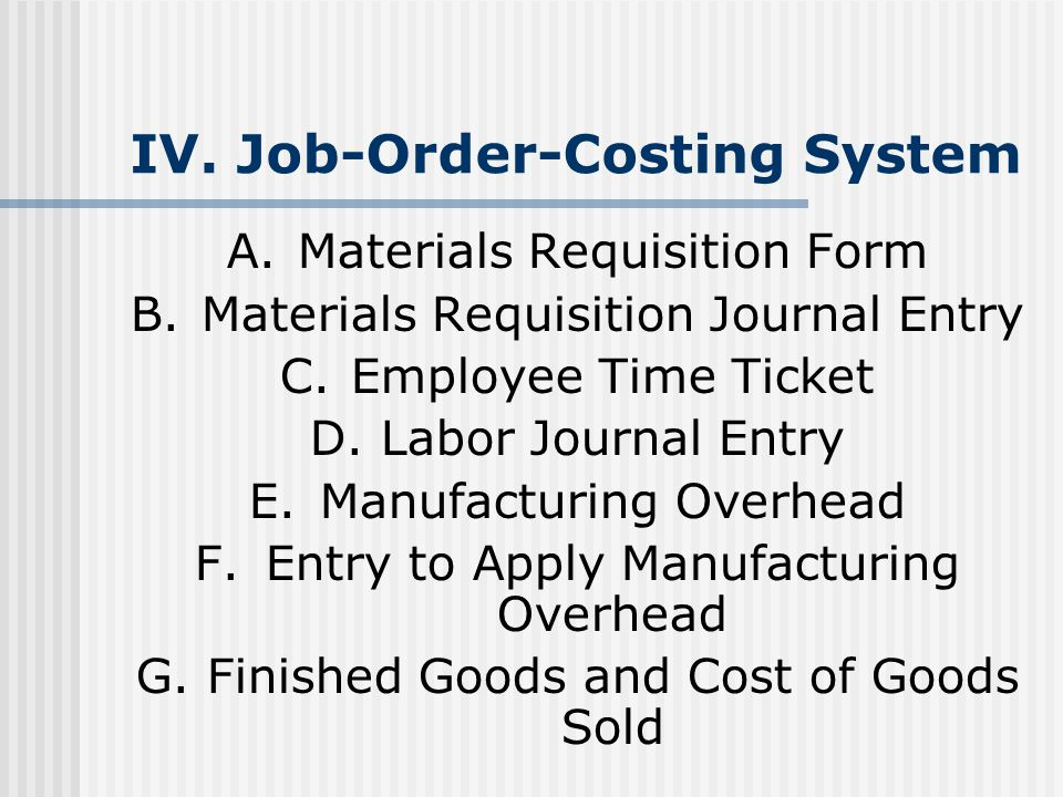 Chapter  JobOrder Costing And Modern Manufacturing Practices