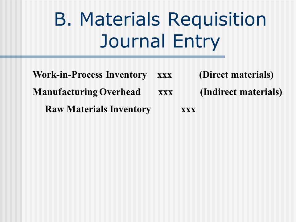 B. Materials Requisition Journal Entry