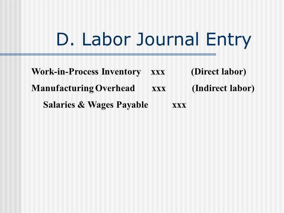 D. Labor Journal Entry Work-in-Process Inventory xxx (Direct labor)