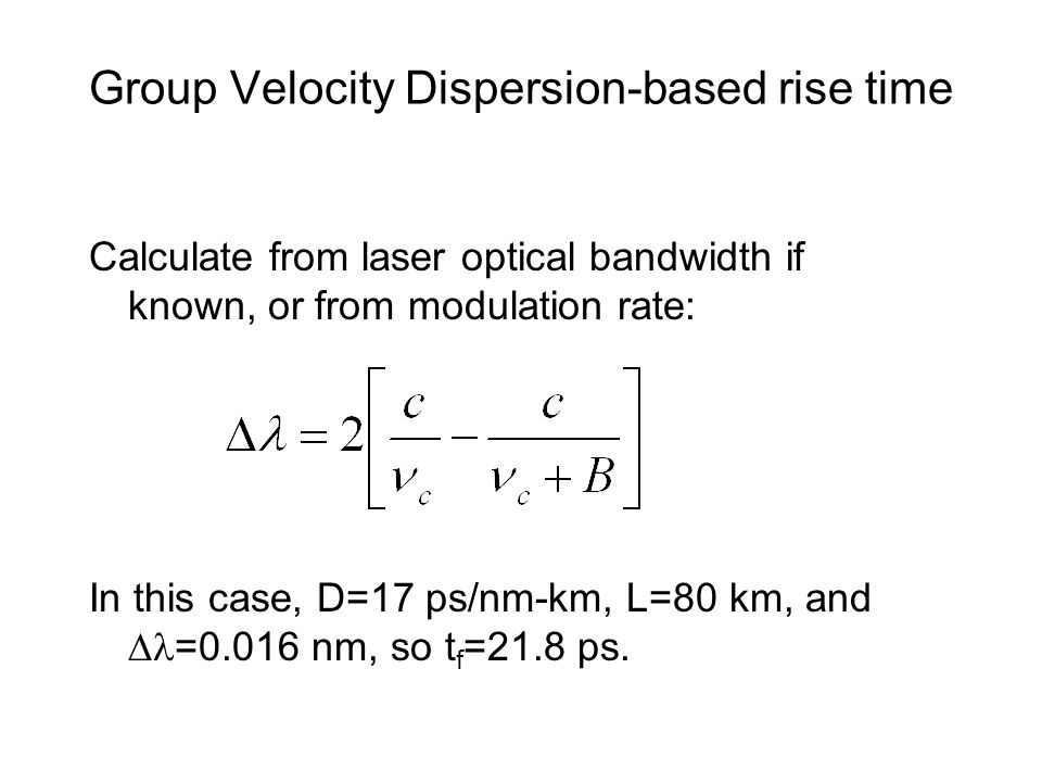 Group Velocity Dispersion-based rise time