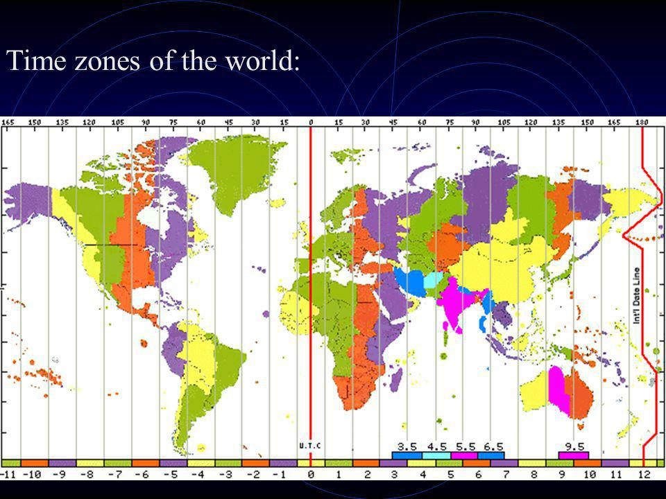 Time zones of the world: