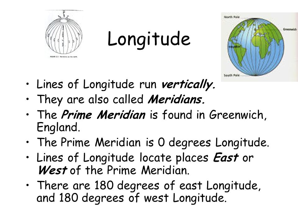 Longitude Lines of Longitude run vertically.