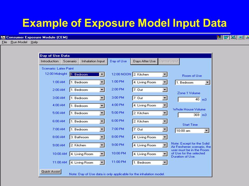 Example of Exposure Model Input Data